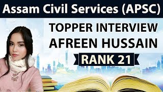 Assam Civil Services (APSC) Topper Interview Afreen Rank 21 - How to clear ACS exam, Strategy & Tips