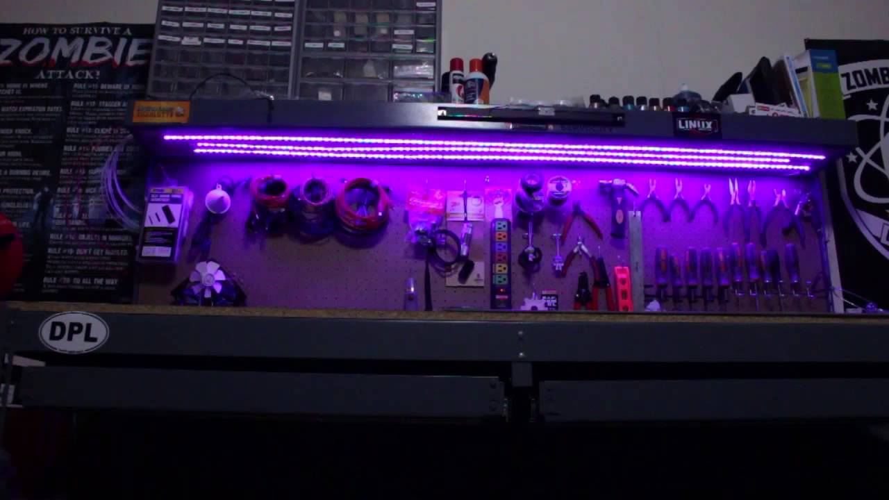 Under Shelf Work Bench RGB LED Strip Lighting - YouTube