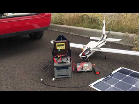 Flying r/c airplanes off sun power with a lithium ion battery and portable solar panel.
