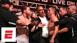 Canelo Alvarez and GGG weigh-in results in shoving match | ESPN