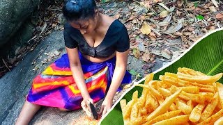 Beautiful Girl Cooking Jungle Style French Fries