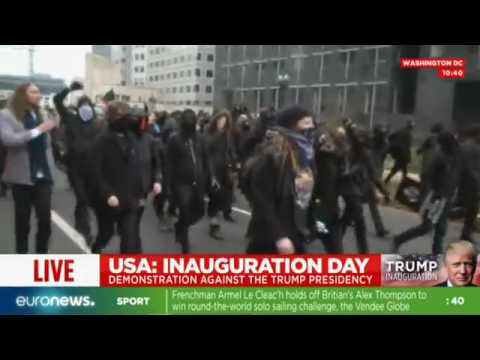 Live footage - Violent protests erupt in Washington ahead of Donald Trump's inauguration