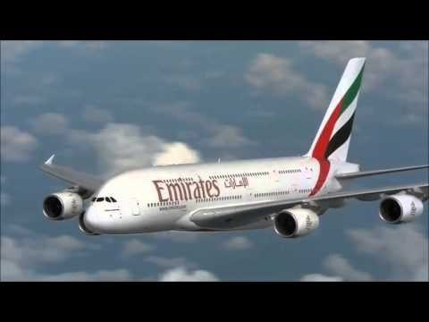 Emirates Airlines Video Airbus A380-800 Air to Air Flying in the Sky Views of Double Decker Plane HD