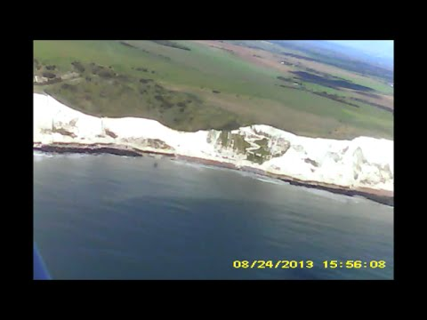 Cessna 152 onboard over the White Cliffs of Dover