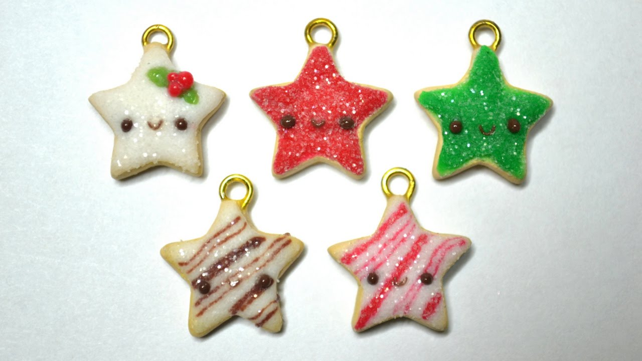 christmas sugar cookie stars polymer clay tutorial youtube