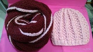 МК вязания для новичков бесшовной шапочки из толстой пряжи. Предельно просто!)