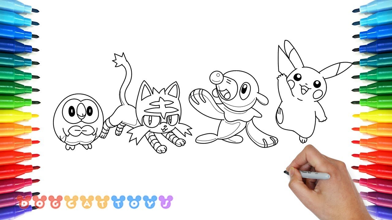 Pokemon coloring pages popplio - How To Draw Pokemon Pikachu Litten Popplio Rowlet Cute Coloring Drawing