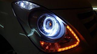 Hyundai Starex H1 тюнинг фар установка светодиодных би модулей, гибких ходовых огней и ангельских г