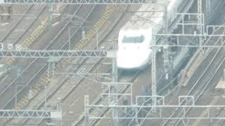 地上100メートルから望む名古屋駅に入線する東海道新幹線 700系 2019.2.9