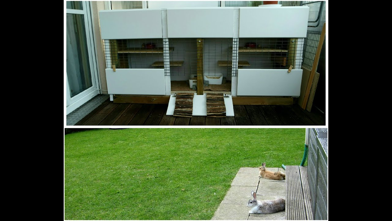 kaninchen schlafplatz k fig gehege auf der terasse garten au en selber bauen youtube. Black Bedroom Furniture Sets. Home Design Ideas