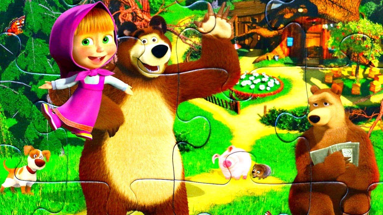 картинка маша и медведь для крупных пазлов распечатать что там