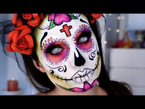 Catrina, Calavera mexicana Maquillaje Día Muertos / Sugar Skull Glitter Mexico Halloween Makeup