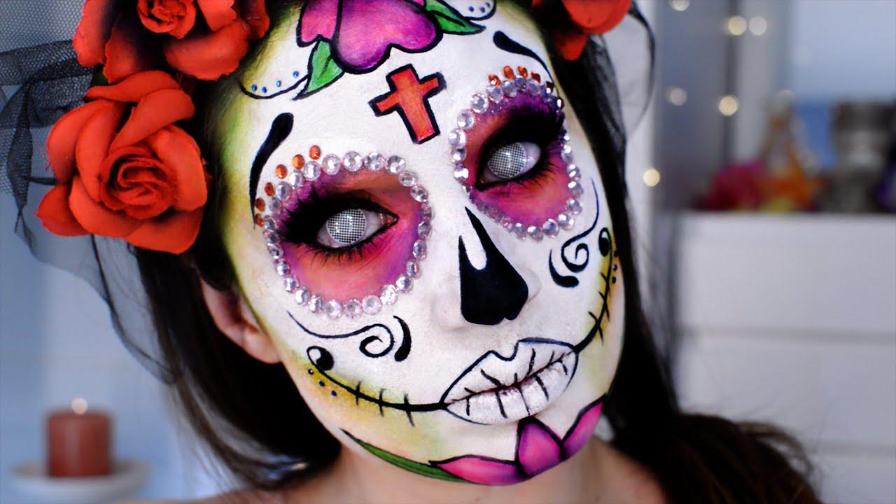 Catrina Calavera Mexicana Maquillaje Día Muertos Sugar Skull