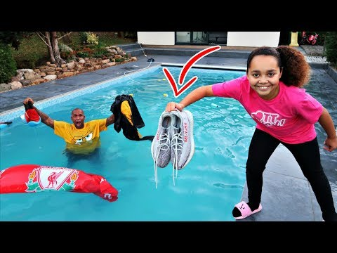 DADS CLOTHES IN OUR SWIMMING POOL PRANK!!