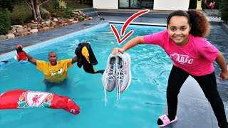 DAD'S CLOTHES IN OUR SWIMMING POOL PRANK!!