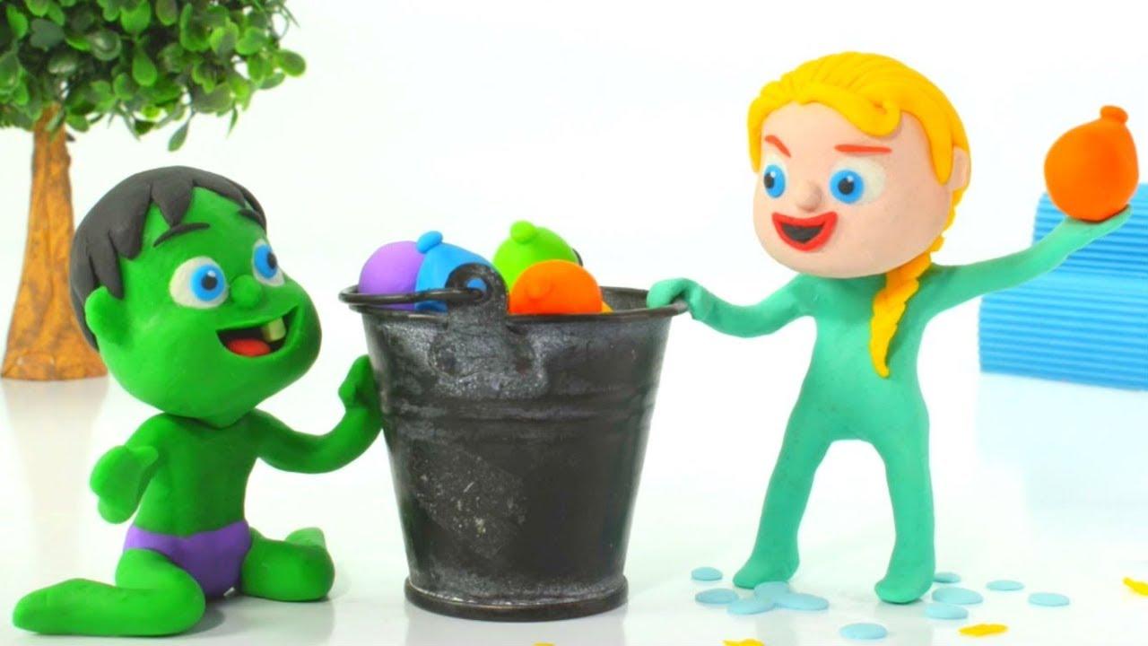 SUPERHERO BABIES PLAY WITH WATER BALLOONS ❤ Spiderman, Hulk & Frozen Play Doh Cartoons For Kids