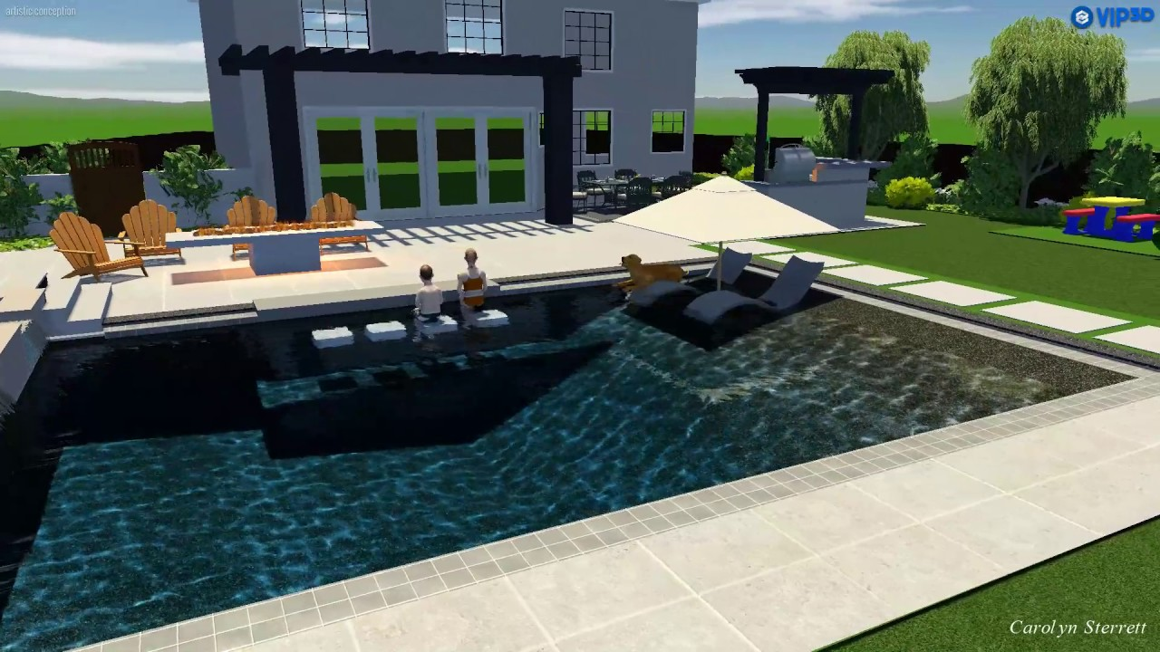 modern and kid friendly outdoor entertainment oasis 3d design pool