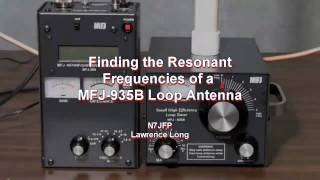 Finding the lowest SWR and frequencies that are all most resonant of a MFJ-935B Loop Antenna.