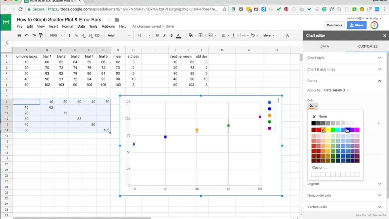Graphing individual error bars on scatter plot in google sheets graphing individual error bars on scatter plot in google sheets new ccuart Image collections