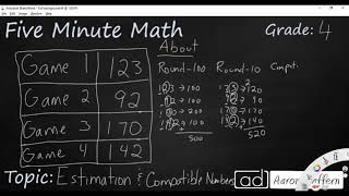 4th Grade Math Estimation and Compatible Numbers