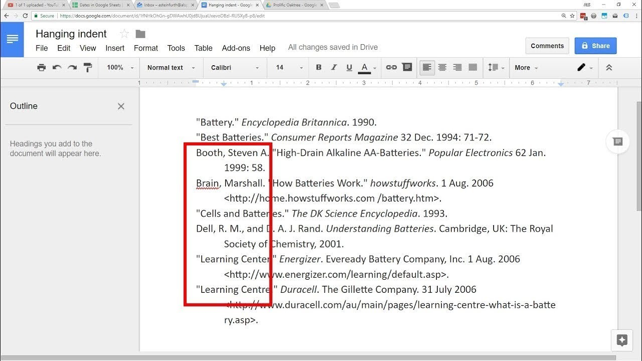 google docs hanging indent youtube