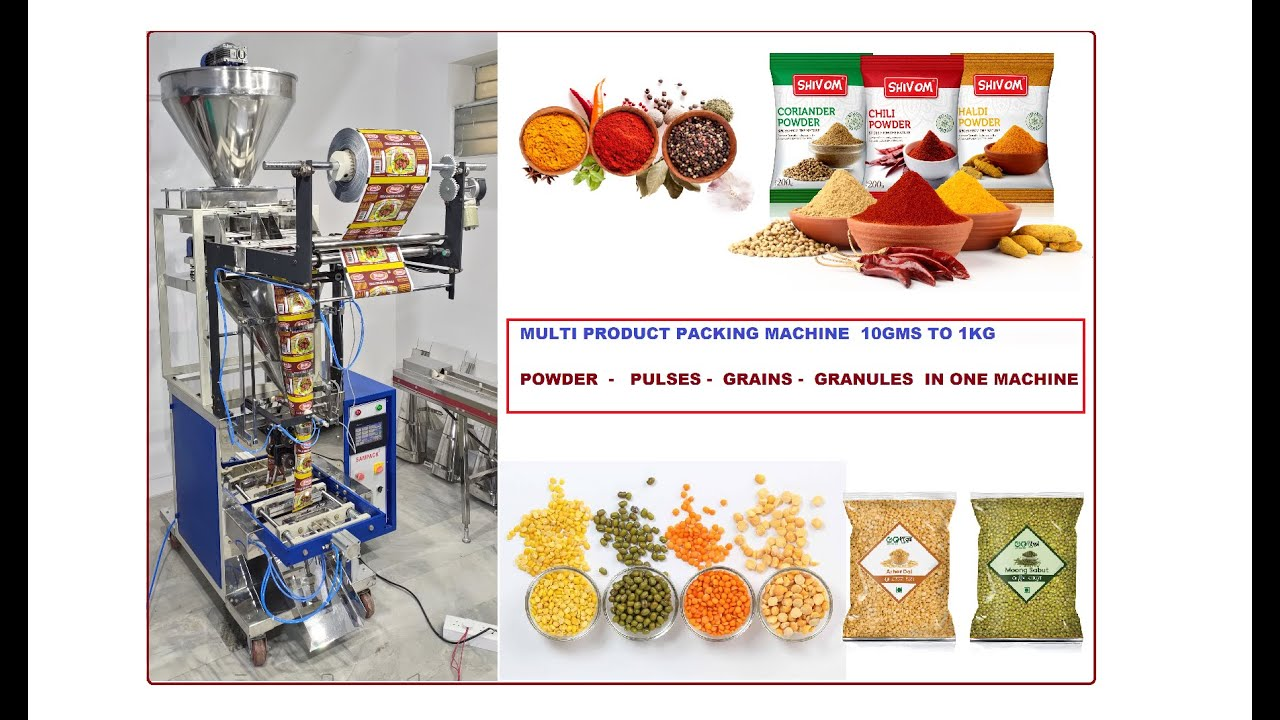 Download Multi product  Packing machine Masalas & Pulses packing in one machine 25gms to 1Kg