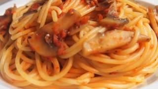 Как просто и вкусно приготовить макароны. Спагетти (паста)  с грибами в томатном соусе. PASTA