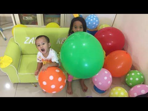HARI ANAK NASIONAL - Rumah Zara penuh Balon Warna Warni   Belajar Warna ala Zara Cute