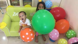 HARI ANAK NASIONAL - Rumah Zara penuh Balon Warna Warni | Belajar Warna ala Zara Cute