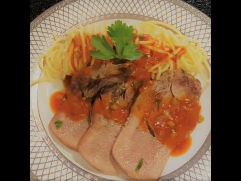 recette-langue-de-bœuf-sauce-tomate-piquante-👍👍👍🍅🍅🍅لسان-البقربالمكرونة-صلصة-🍅