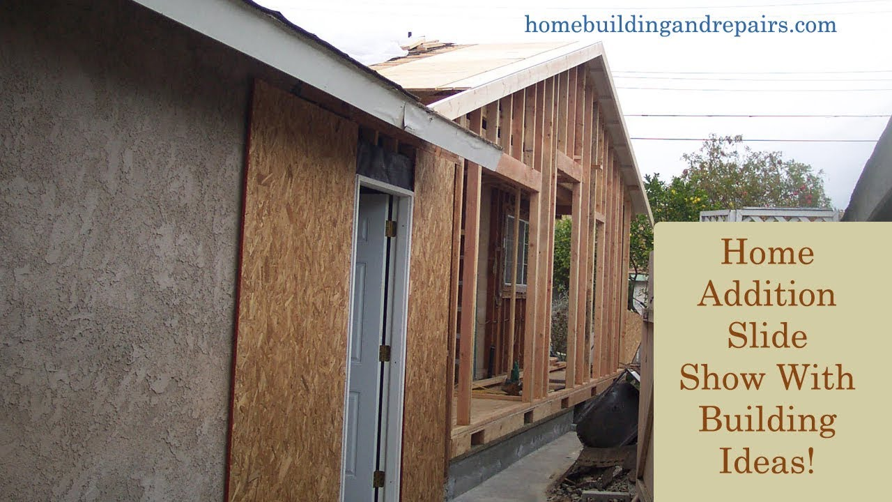 Construction of small home addition at end of existing home with gable roof