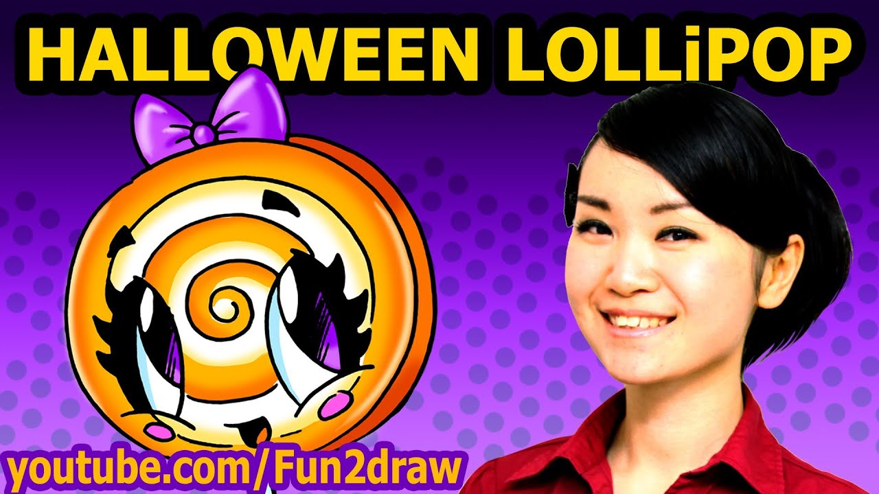how to draw halloween candy - lollipop - easy fun2draw drawing - youtube