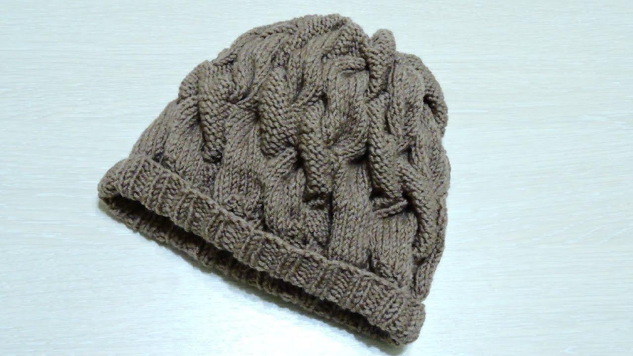 Женская объемная шапка спицами с узором косы. Вязание ...