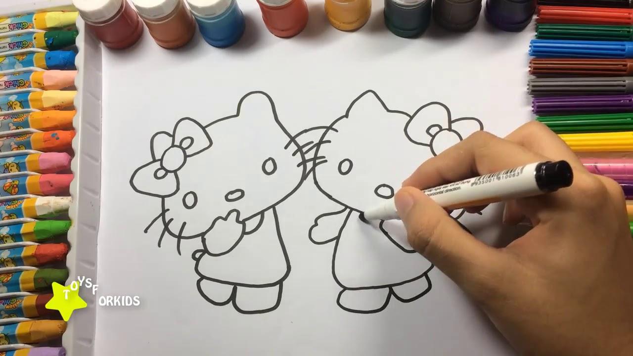 Личные цвета с кошкой Hello Kitty для детей, как рисовать ...