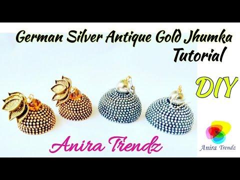 DIY Metallic Silver Gold Jhumka Tutorial How to make German Silver Jhumka At home Antique Gold Jhumk