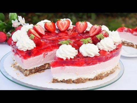 Erdbeertorte mit Knusperboden | Erdbeer Schmand Torte ohne Backen I No Bake Erdbeerkuchen