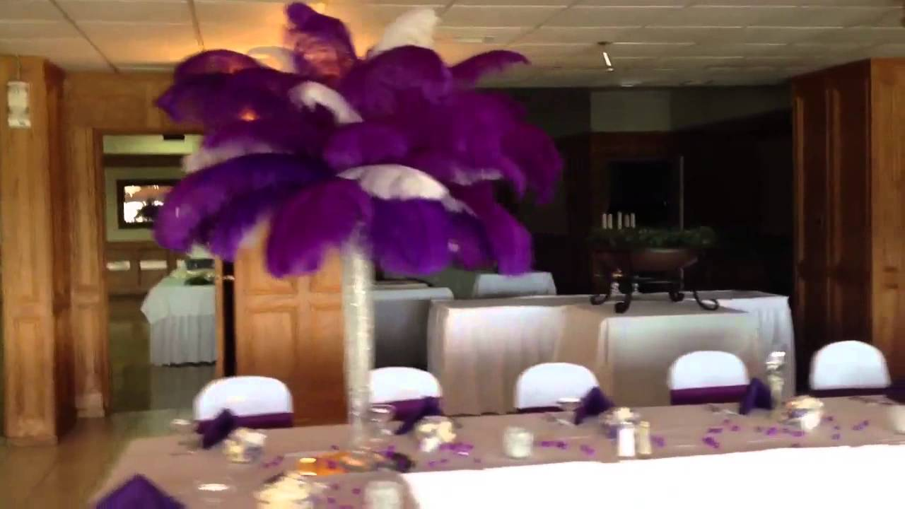 Purple And White Feather Centerpieces Youtube