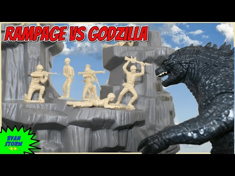 Pretend Play Father & Son Plastic Army Men Godzilla VS Rampage Toy Soldiers