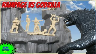 Pretend Play Father & Son Plastic Army Men Godzilla VS Rampage Toy Soldiers