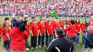 owen j roberts middle school varsity singers sing the national anthem at the phillies game