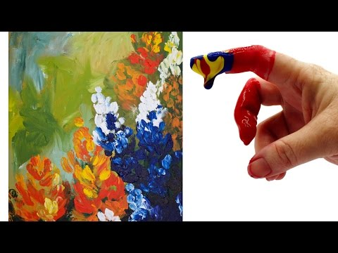 🌸   Wildflower 💜  FINGERPAINT Abstract Acrylic Painting for Beginners