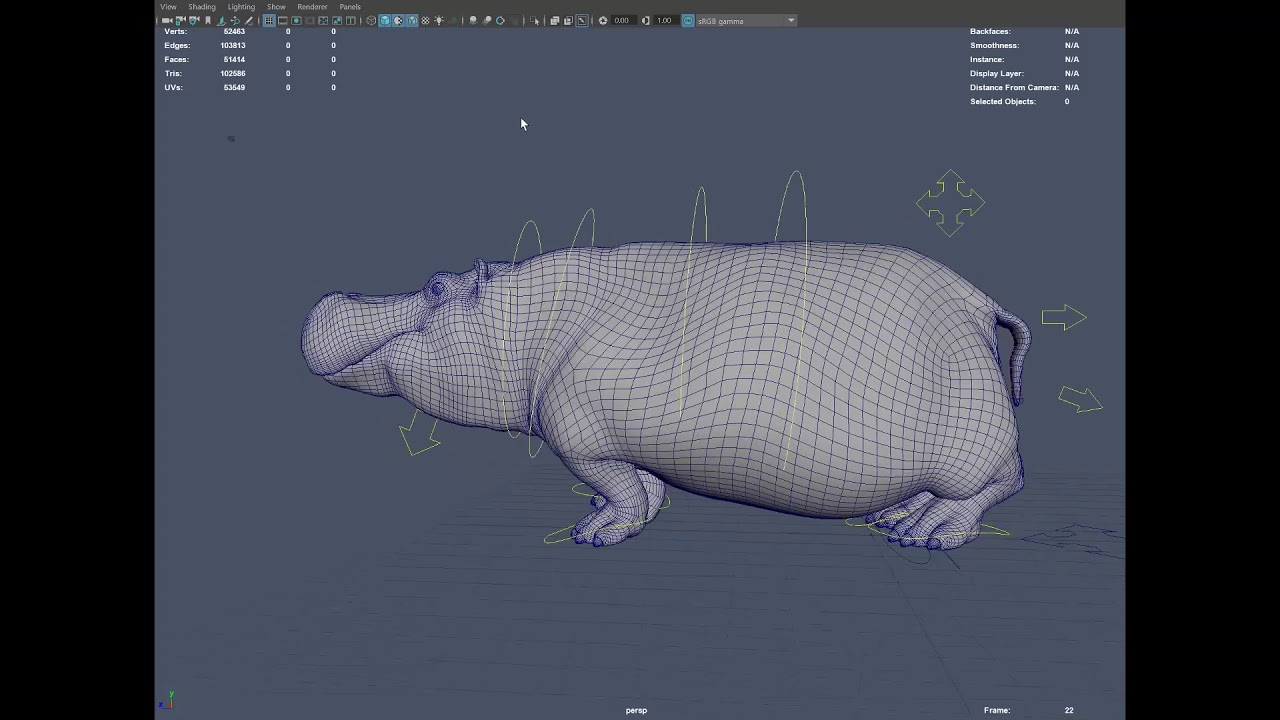 hippo walk cycle iteration 1 - YouTube
