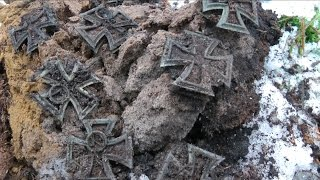 Metal detecting a hoard again - this time iron crosses - Live! thumbnail