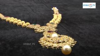 Latest Chandbali with Gold and Diamonds Long Haram   hybiz
