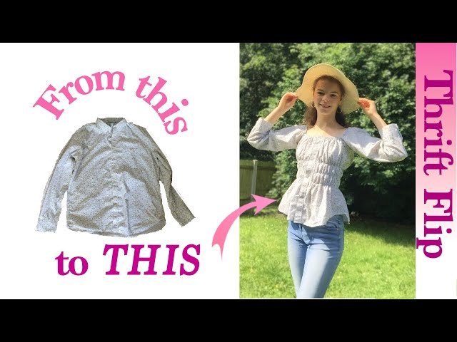 THRIFT FLIP: Refashioning a MEN's SHIRT into a Cute Shirred Top | Sustainable DIY Summer Fashion