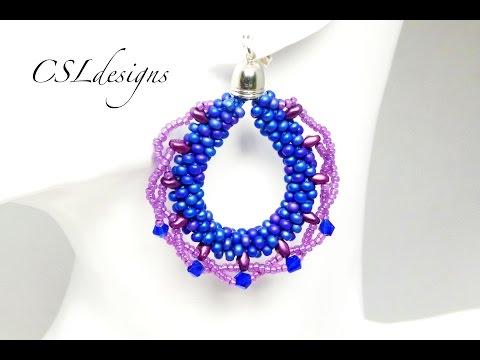 Laced beaded kumihimo earrings