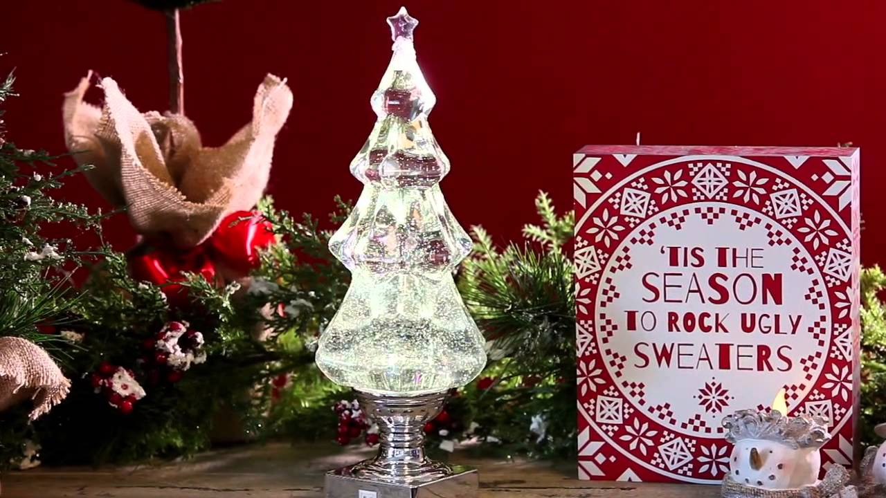 Light-up Glitter Tabletop Christmas Tree (8LED006) From