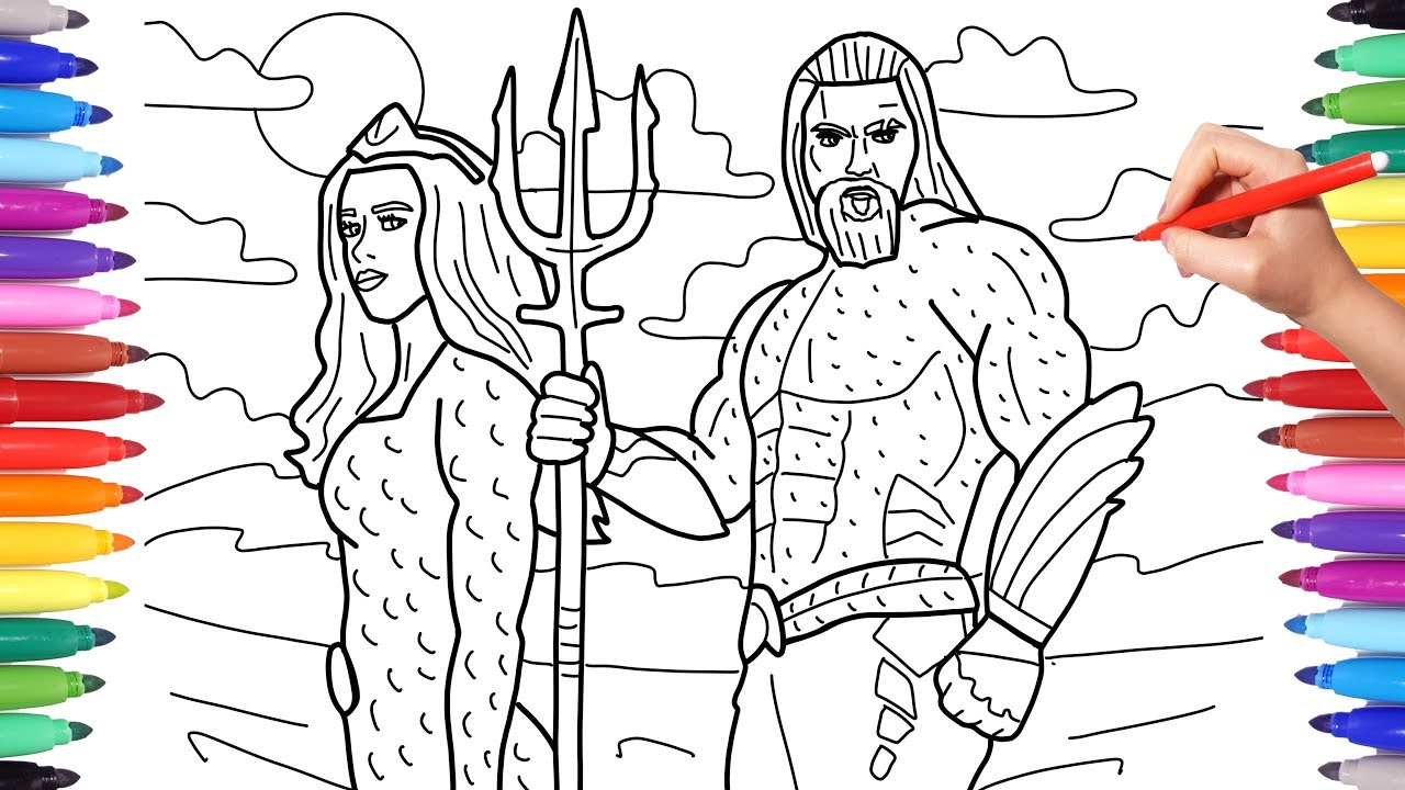 Aquaman Coloring Pages, How to Draw Aquaman and Mera ...