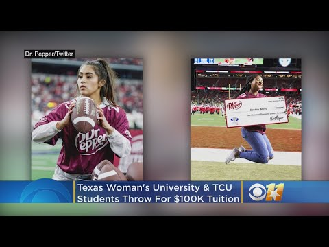 Texas Woman's University & TCU Students Pass Footballs For $100K In Tuition