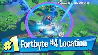 Fortnite Fortbyte #4 Location - Accessible skydiving through rings Loot Lake Plasma Trail Contrails